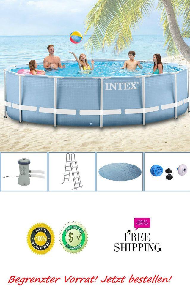 Metal Frame Schwimmbecken Swimming Pool Schwimmbad Komplett Set Intex  366x122