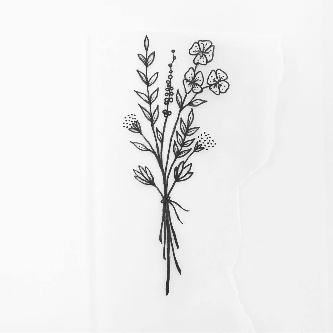 701 Likes 14 Comments Ellen E Stings On Instagram Quick Afternoon Doodle Wildflowers Beautytatoos Wildflower Tattoo Flower Tattoo Designs Tattoos