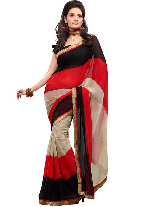 Fabdeal Women Indian Designer Embroidered Saree