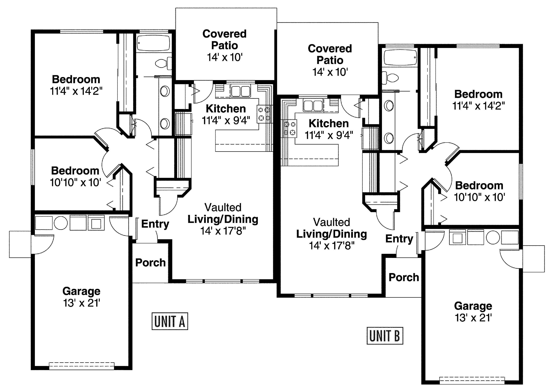 House Plan 035 00492 934 Square Feet 2 Bedrooms 1 Bathroom In 2021 Duplex Floor Plans Single Level House Plans 6 Bedroom House Plans