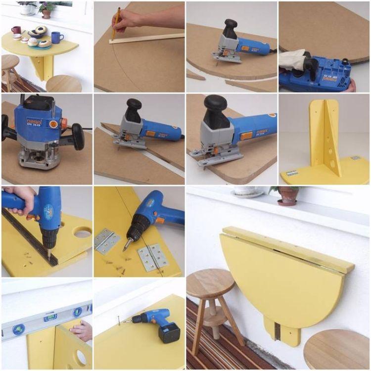 Fabriquer une armoire murale et table rabattable balcon diy wood - Faire une armoire murale ...