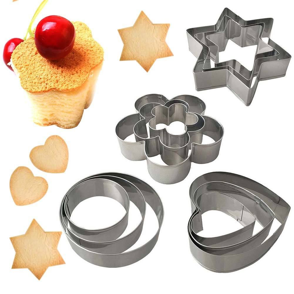 12X Stainless Steel Cake Cookie Biscuit Egg Fondant Mould Mold Sugarcraft Cutter