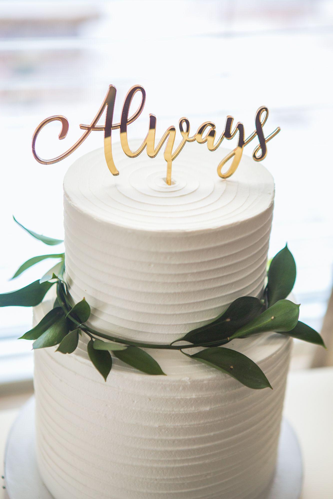 Wedding Cake Topper Always Gold Calligraphy Script Decor In Custom Colors Or Theme Reception Dessert Item