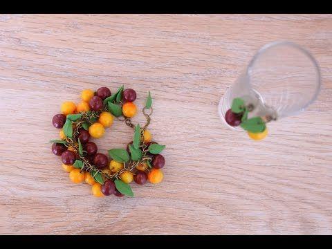 Браслет с черешней из полимерной глины FIMO - мастер-класс лепка кулинарная миниатюра - YouTube