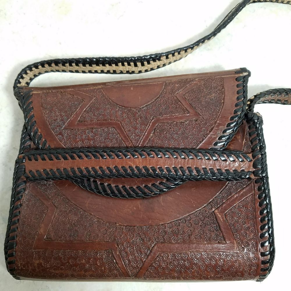 Stamped Tooled Leather Very Small Purse Handcrafted Sun Star 6 5 X Clothing Shoes Accessories Women S Handbags Bags Purses Ebay