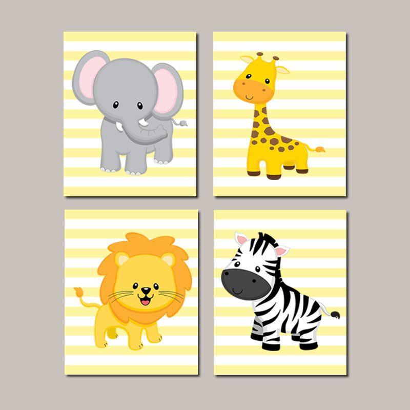 Safari Animals Nursery WALL ART, Prints Or Canvas, Elephant Giraffe ...