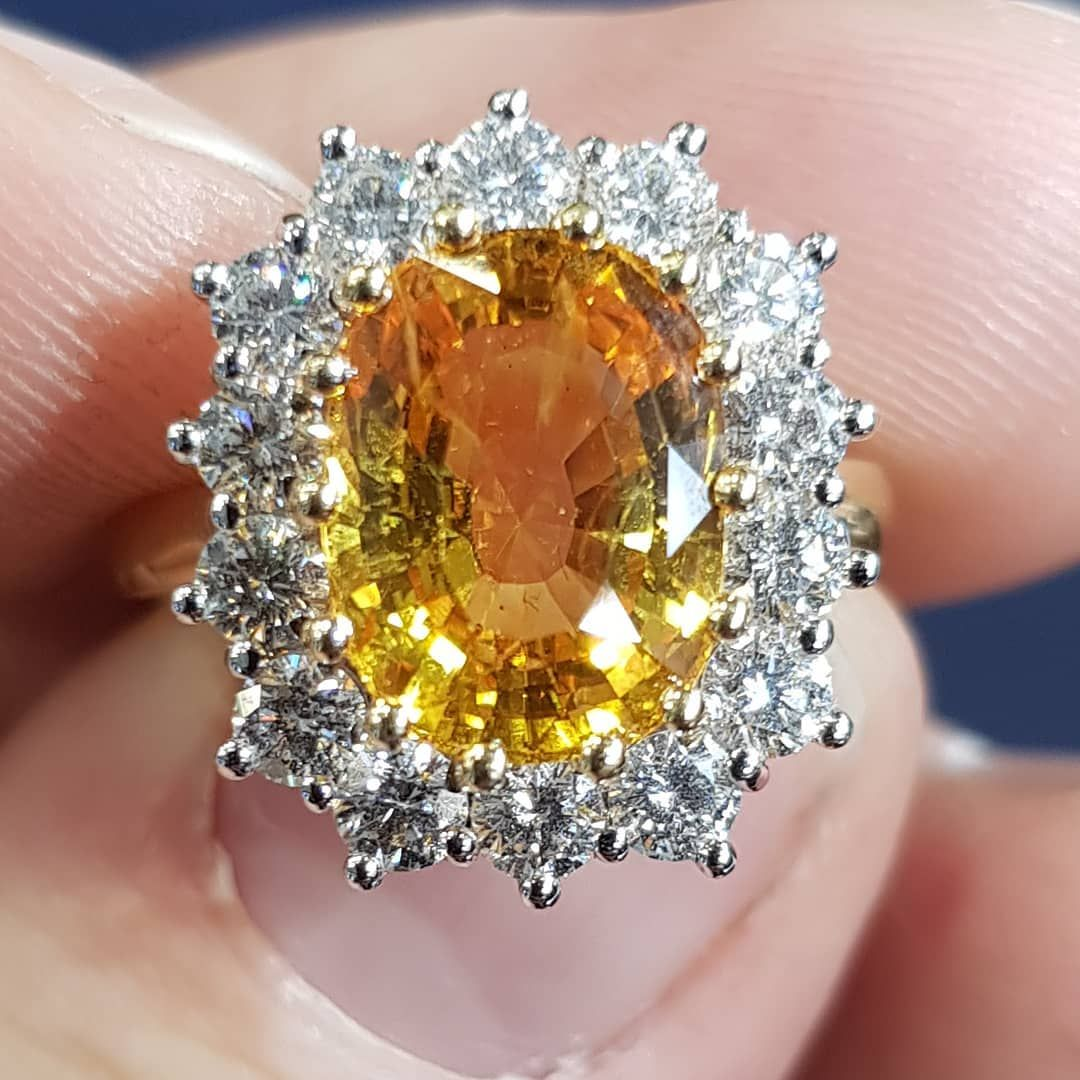 Wonderful Colour 5 3 Carat Yellow Sapphire And Diamond Cluster Ring Forsa Engagement Rings Sapphire Sapphire Engagement Ring Blue Sapphire Engagement Ring Set