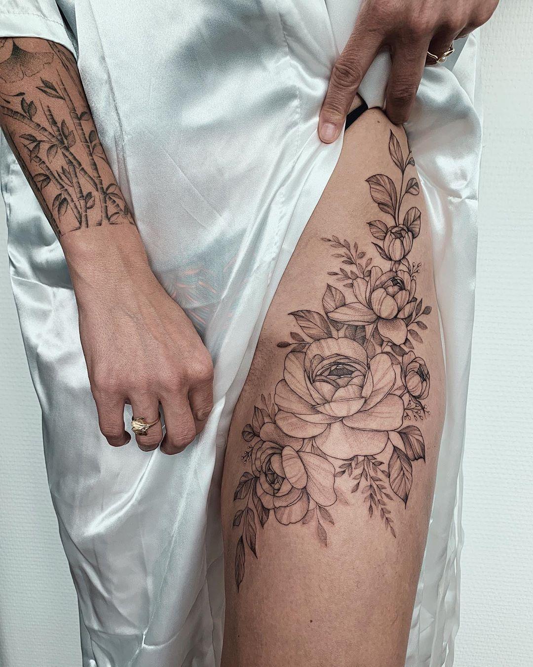Positioning Flower Thigh Tattoos Leg Tattoos Women Flower Hip Tattoos