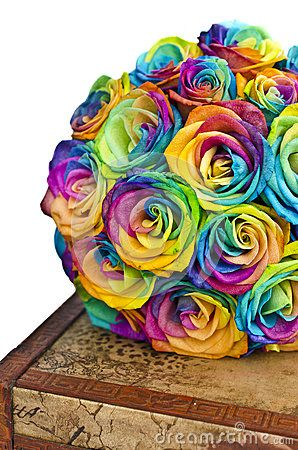 Bridal Bouquet With Rainbow Roses On Box With Images Rainbow