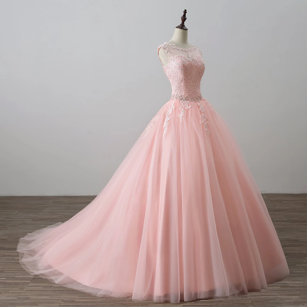 Blush Pink Ball Gown Prom Dresses Lace Girls Sweet 20 Quinceanera