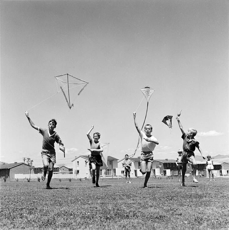 vintage photograph - children flying kites at school in Canberra, Australia (1965)