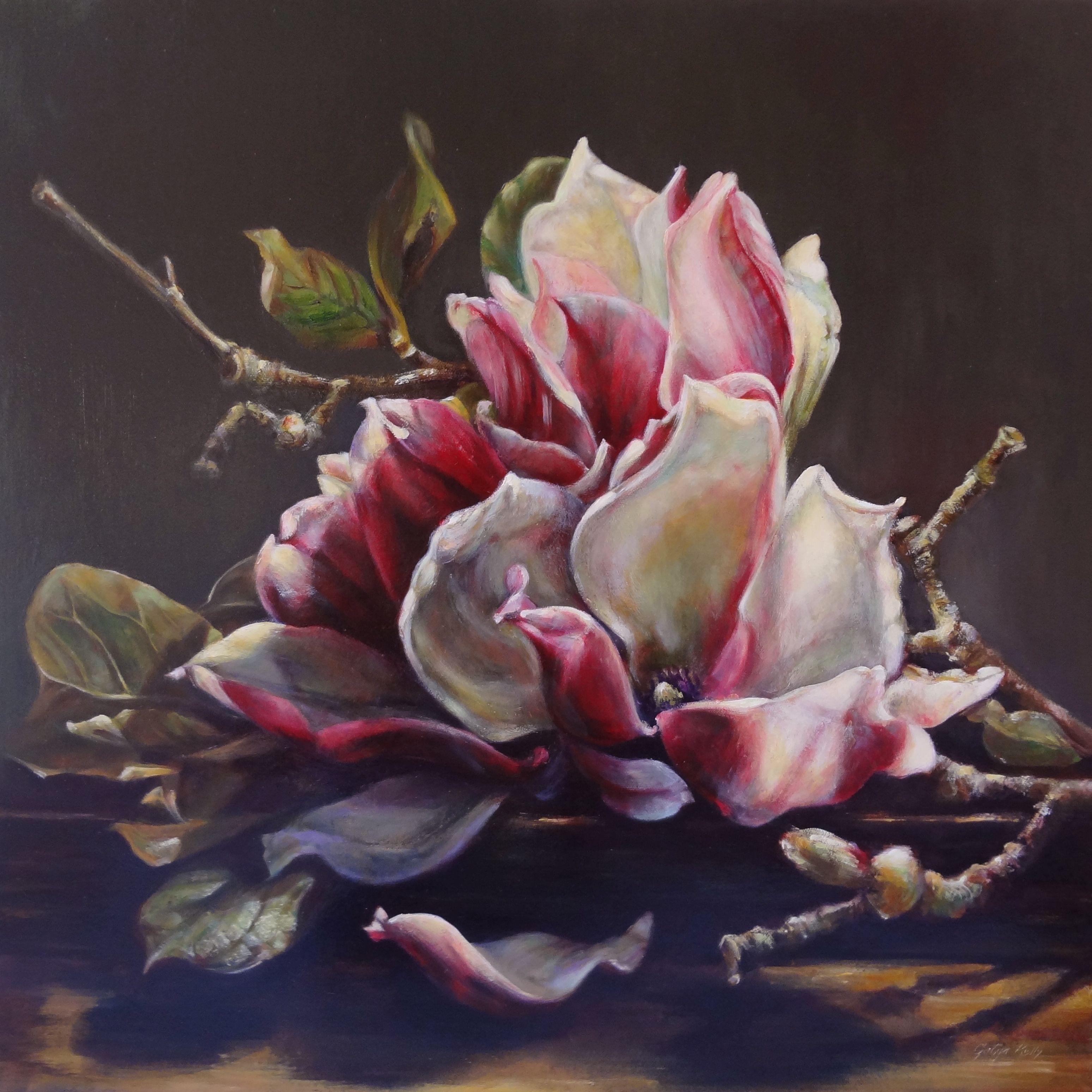Gatya Kelly - Magnolia Allegra 60 X 60cm Oil Canvas Flower Life Painting