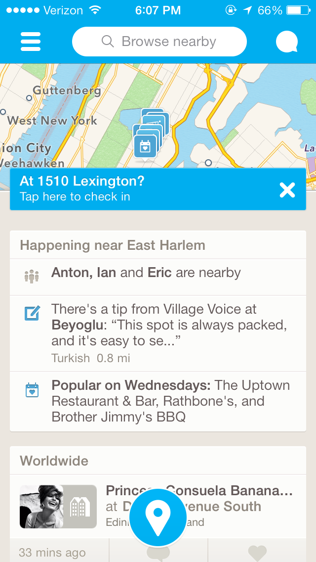 Foursquare - I like the floating action button instead of a whole bar  dedicated at the bottom. | Mobile design patterns, Ios app design, User  interface
