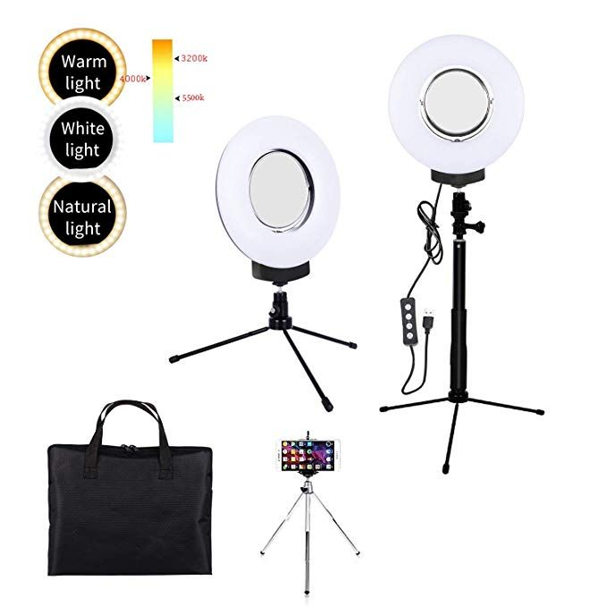 6 Dimmable Ring Light Selfie Live Stream Lighting/&Adjust Stick Stand/& 3 Mirror/&Phone Holder for Makeup Photography Mini LED Ring Lamp Outdoor Camera Photo Video Lighting Kit 3 Colors Lighting Mode