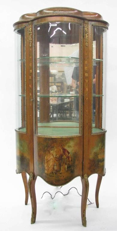French Style Curved Glass Curio Cabinet With Brass Ormolu And Hand Painted Romance Scene And With Mirrore Gorgeous Furniture Glass Curio Cabinets Curio Cabinet