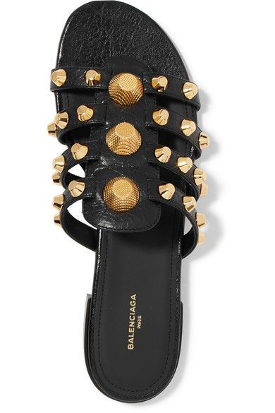Balenciaga Giant studded textured leather slides