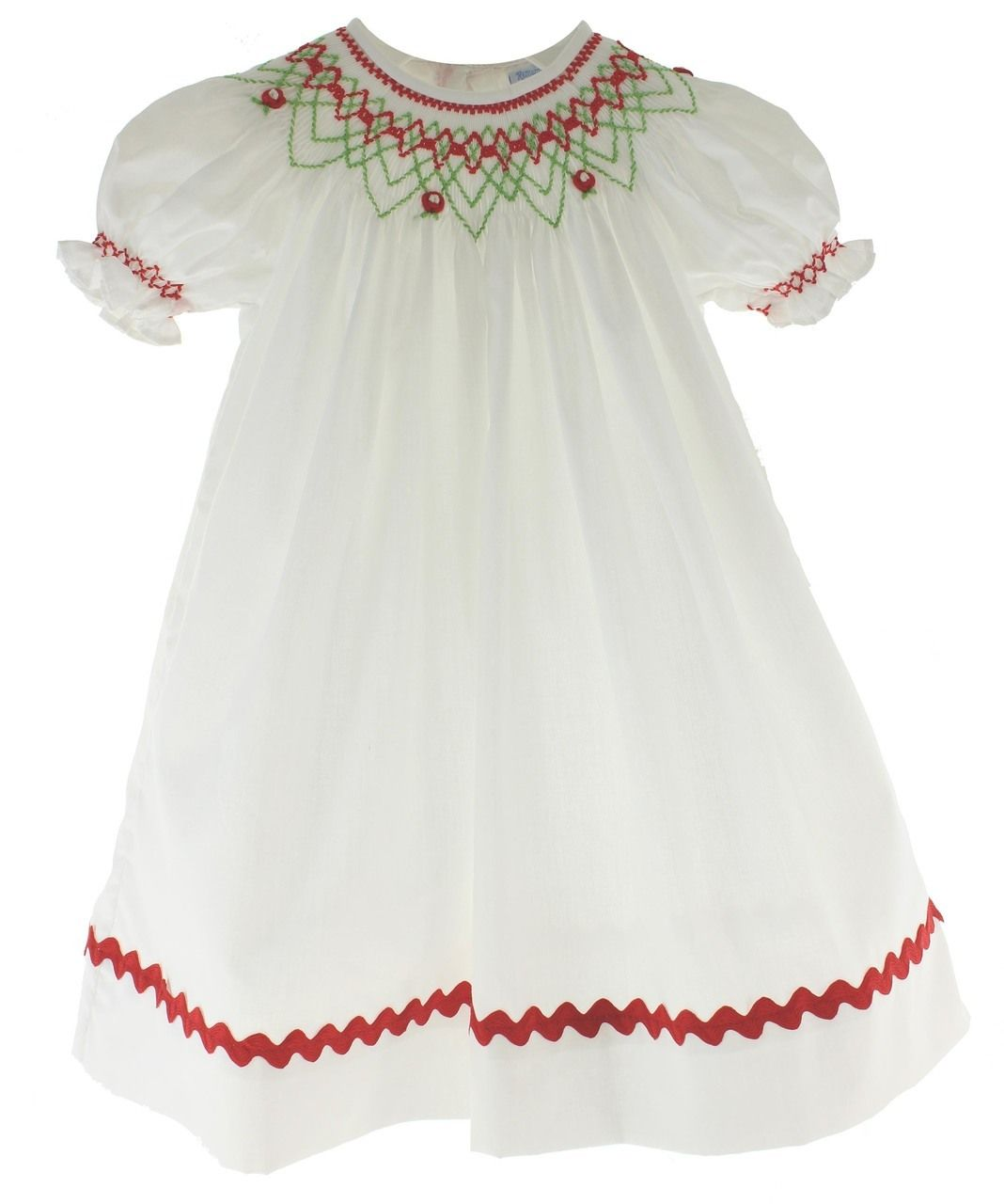Girls Smocked Christmas Dress White with Red and Green Smocking