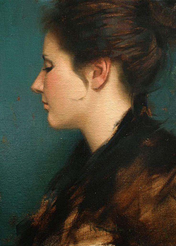 Aaron Westerberg (b. 1974) {contemporary figurative realism art female head profile woman face portrait painting} aaronwesterberg.com
