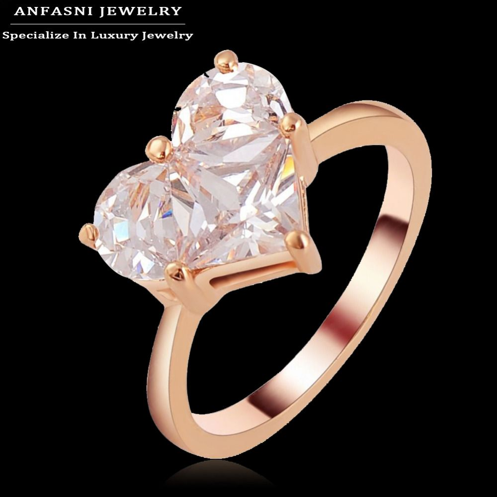 Anfasni Small Exquisite Heart Ring Rose Gold Plated Genuine Swa Stellux Austrian Crystal Engagement Crystal Engagement Rings Engagement Rings Rose Gold Plates