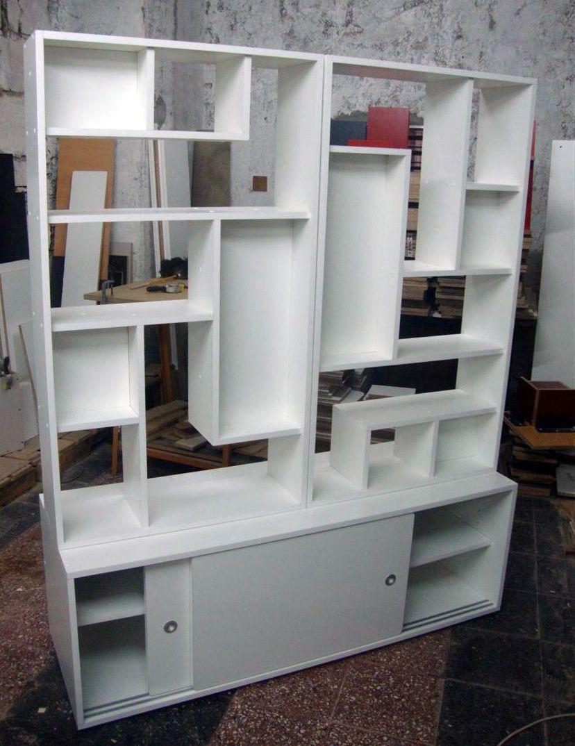 Divisor Ambiente Baulera Biblio Monoambiente A Medida  # Muebles Separadores Para Monoambientes