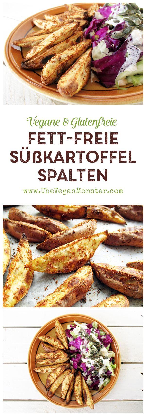 Fettfreie, Knusprige Süßkartoffel Spalten. Vegan, glutenfrei. #kartoffelspaltenofen