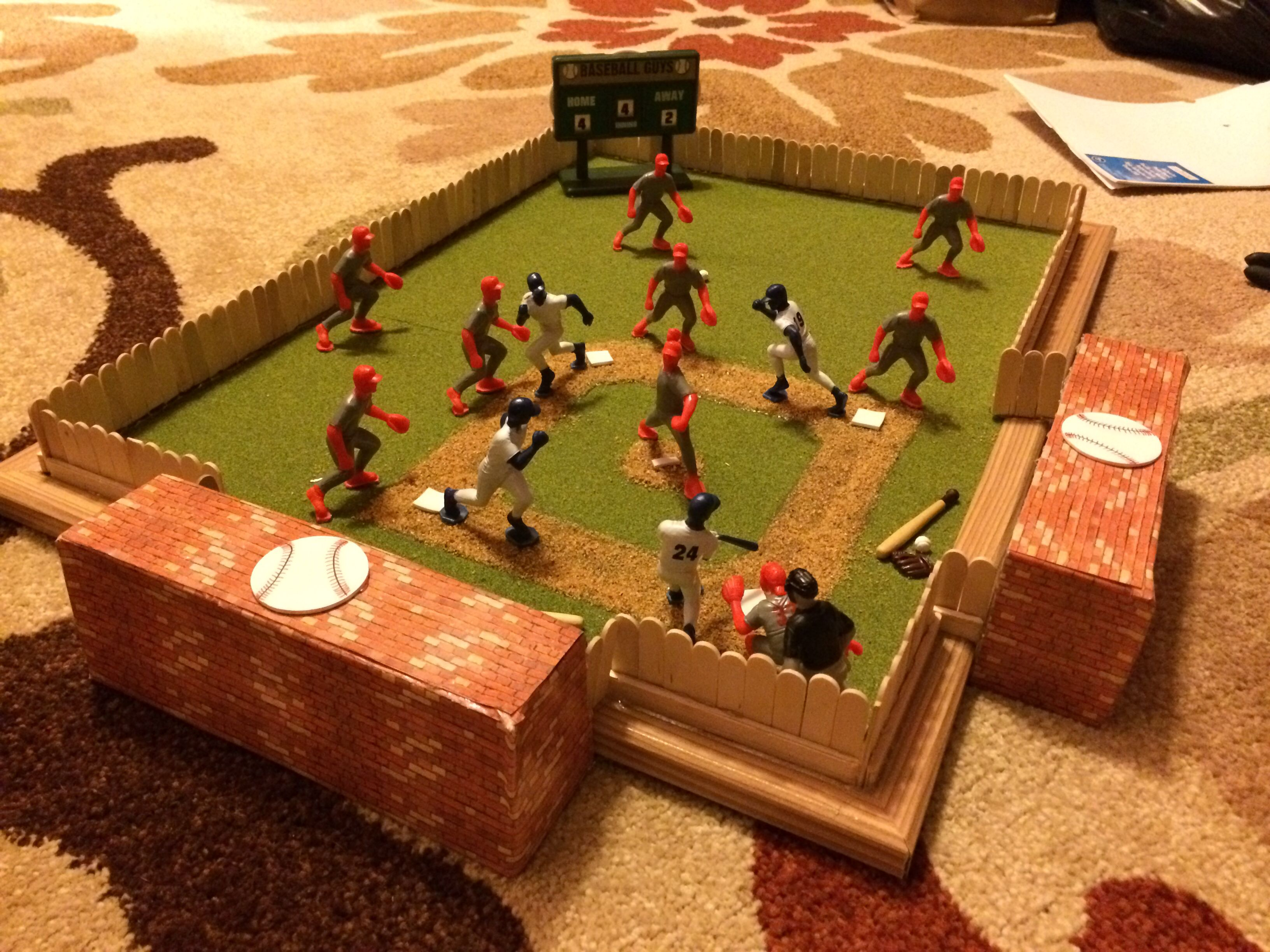 Baseball diorama Baseball project, School projects, Kids