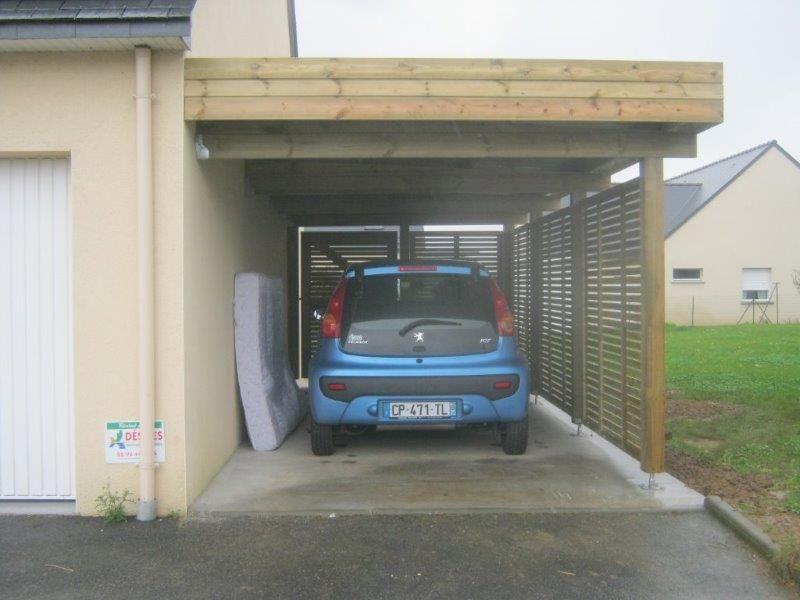 carport-bois-adossé-pas-cher-vente-carports-2-voitures-sur-mesure - prix construction d un garage