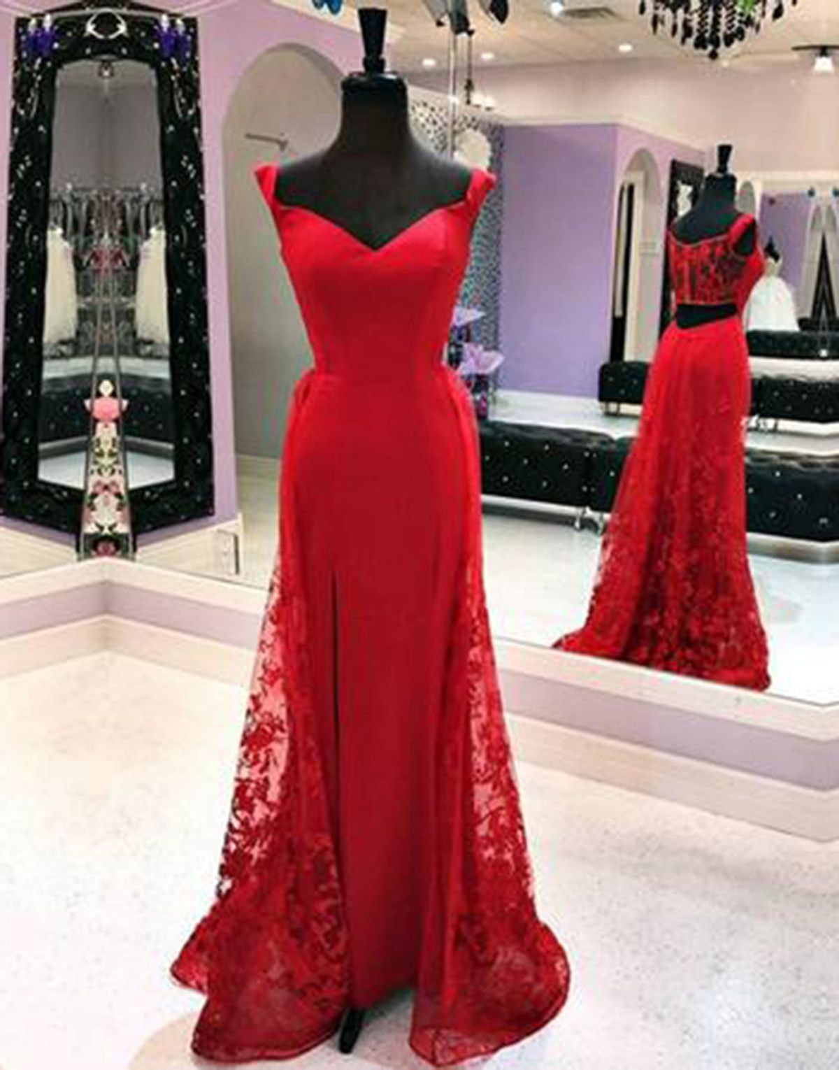 Red lace sweetheart long aline bridesmaid dress long customize