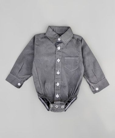 Another great find on #zulily! Charcoal Dress Shirt Bodysuit - Infant #zulilyfinds