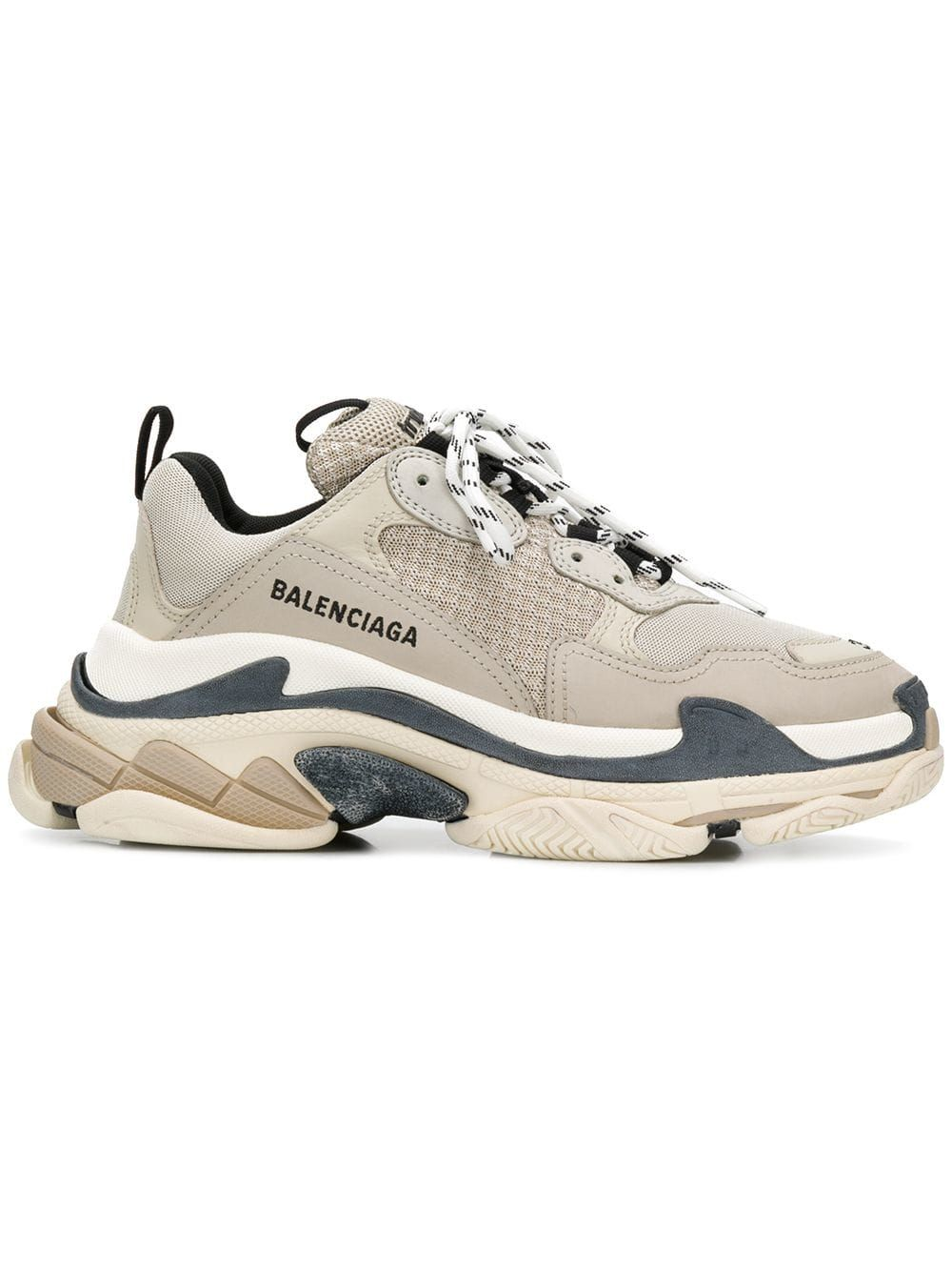 Triple S Logo Embroidered Leather, Nubuck And Mesh Sneakers