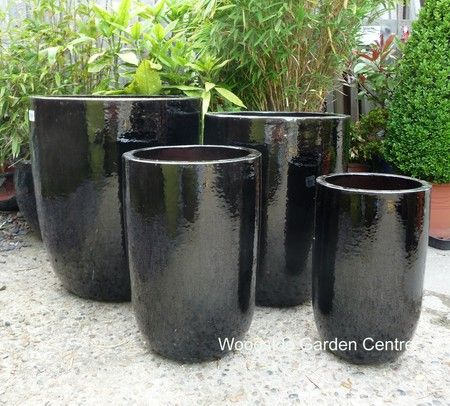 Large Black Glazed U Planters Garden Pot