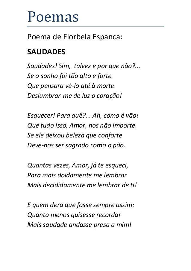 Populares saudades florbela espanca - Pesquisa Google | Poemas e poesias  JN24