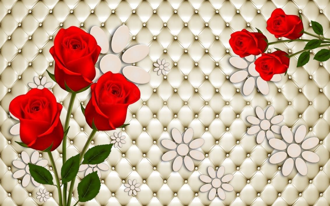 Red Rose Flower And Sofa Pattern 3d Background Red Rose Flower Red Roses Landscape Wallpaper
