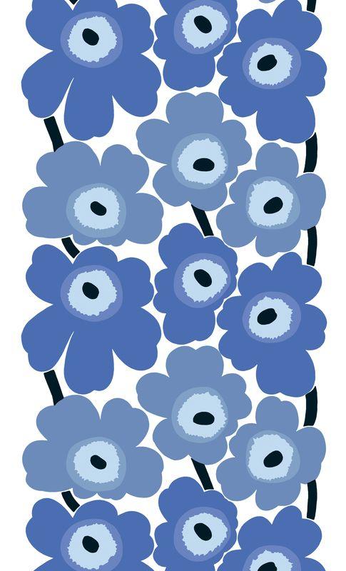 Cotton fabric UNIKKO by @Aino F F Ahlnäs | #Design Maija Isola #blue #colour #flower