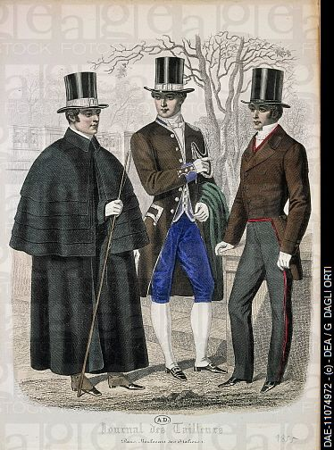 Men S Fashion Plate Depicting Gentlemen And Servant From