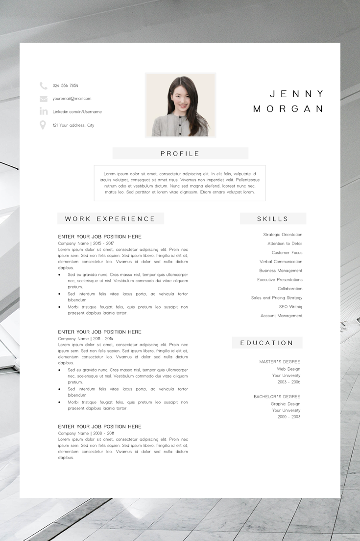 Simple Cv Template Word Resume With Photo Template