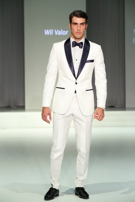 White Dinner Suit with Navy blue Satin Lapel - Wil Valor 'Dandy ...