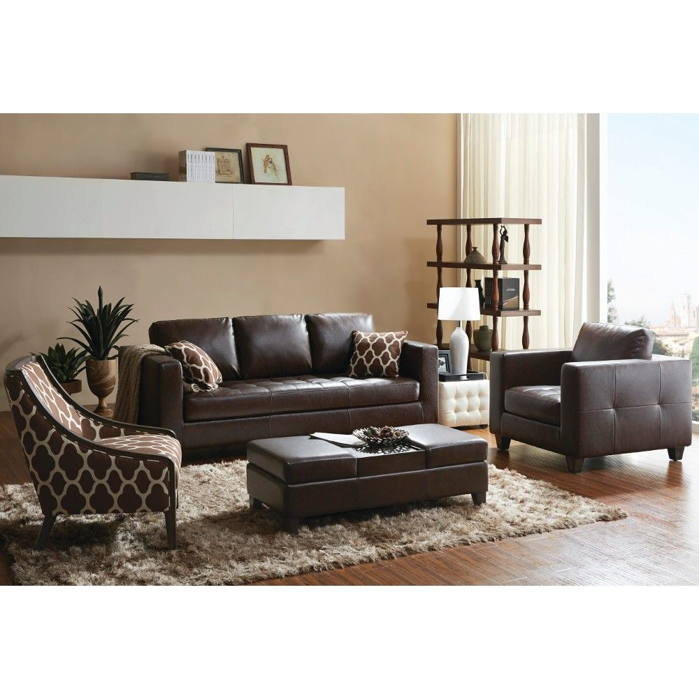 Madison Living Room - Sofa, Arm Chair, Accent Chair & Ottoman - Brown ( - Madison Living Room - Sofa, Arm Chair, Accent Chair & Ottoman