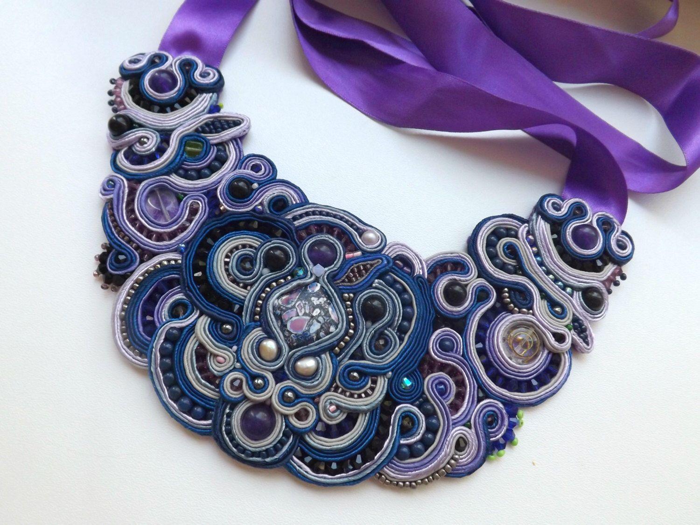 Soutache necklace. Bib Statement OOAK Bead Embroidery piece by NastyaUsevichDesigns on Etsy https://www.etsy.com/listing/216430136/soutache-necklace-bib-statement-ooak
