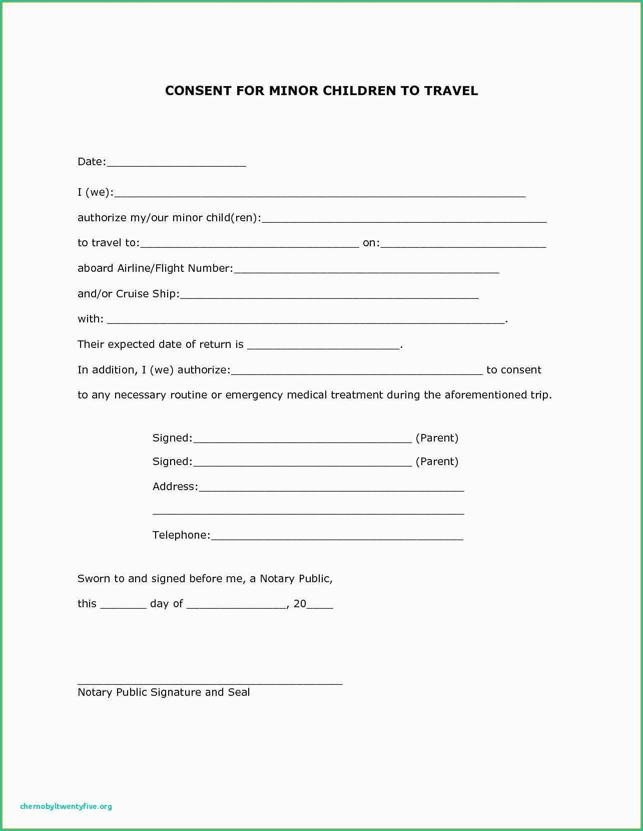 Physician Consent Letter To Travel Parental Consent Form