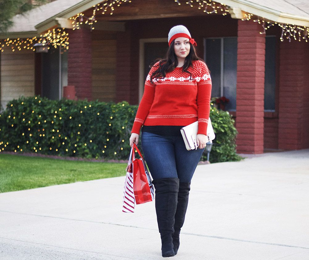 A simple red sweater, a beanie and some over the knee boots for a ...