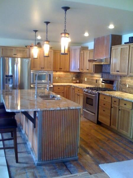 Kitchen Island With Rustic 1 14 Corrugated Metal