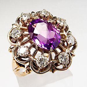 Vintage Amethyst & Diamond Cocktail Ring