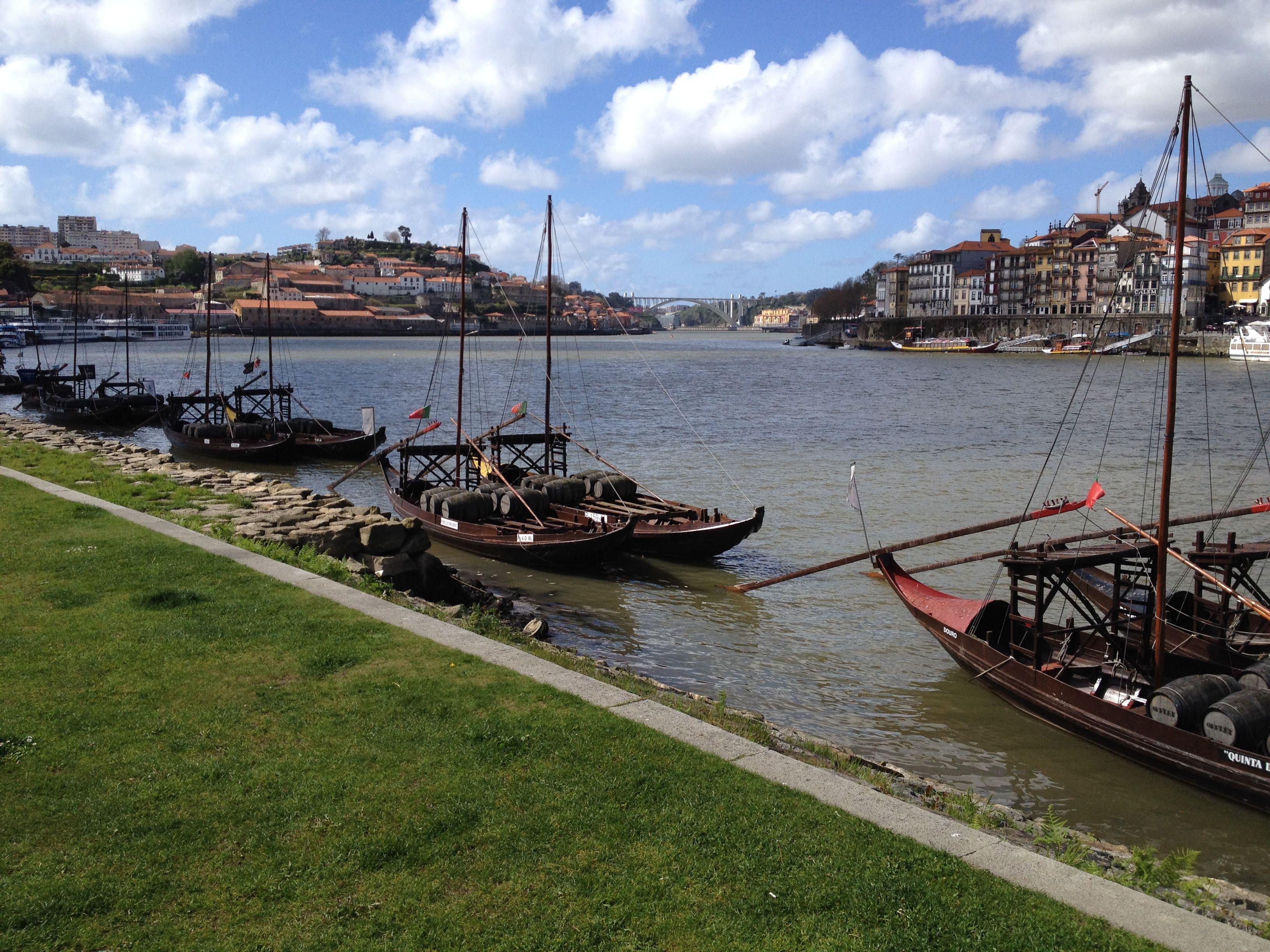 Port Wine Barrels on the quay in Porto, Portugal