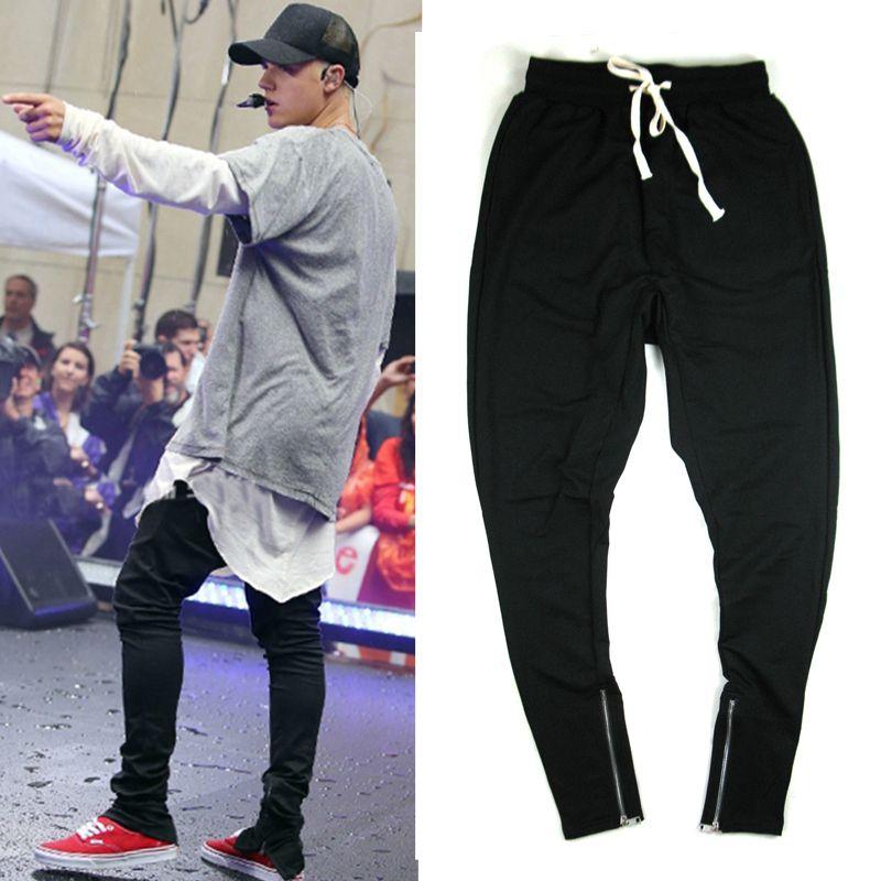 summer korean hiphop fashion Full Length pants with zippers Thin M-XL black  gray men b214aca83aca