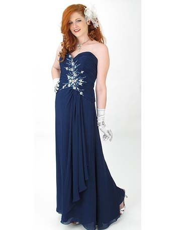 Midnight Blue Strapless Sweetheart Style Draped Front Evening Gown ...