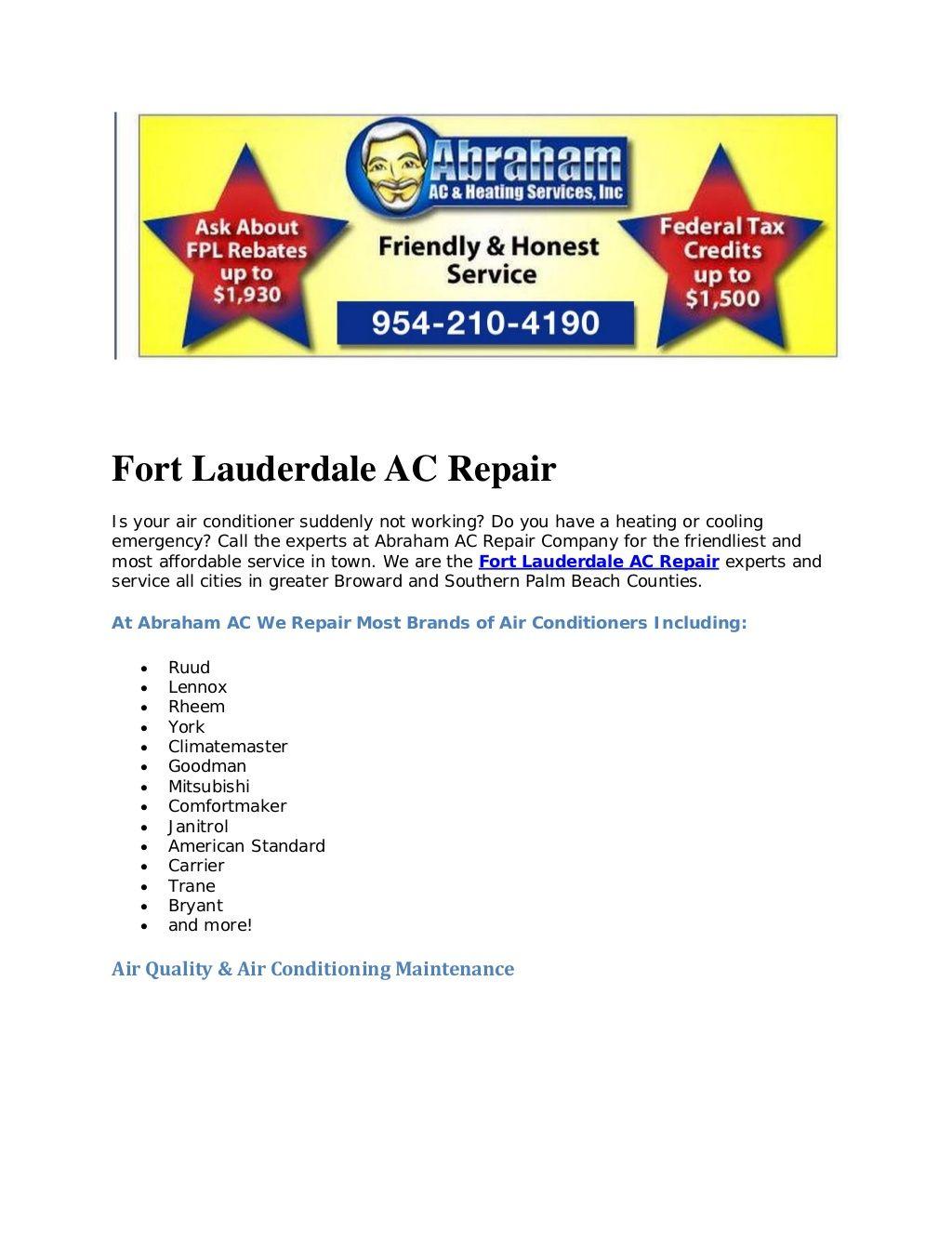 Abraham Ac Is Your Affordable Fort Lauderdale Ac Repair Ac Repair