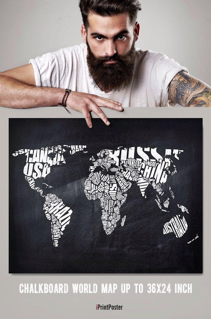 World map print chalkboard art print poster world map world map print chalkboard art print poster world map chalkboard wall gumiabroncs Gallery