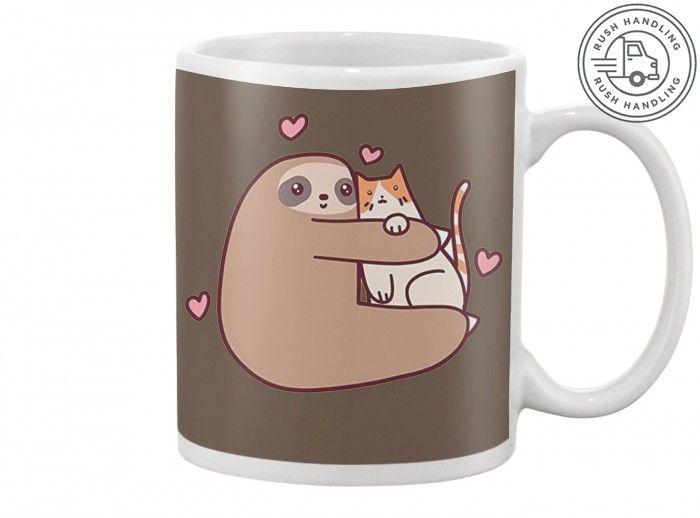 Sloth love Cat Mugs TeeChip Shirts, Ladies Tee, Guys Tee, Hoodie