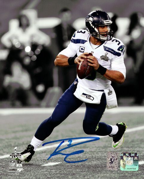 Russell Wilson Autographed 8x10 Photo Seattle Seahawks Super Bowl RW Holo Stock #90911